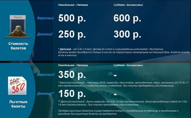 Цены билетов в океанариум